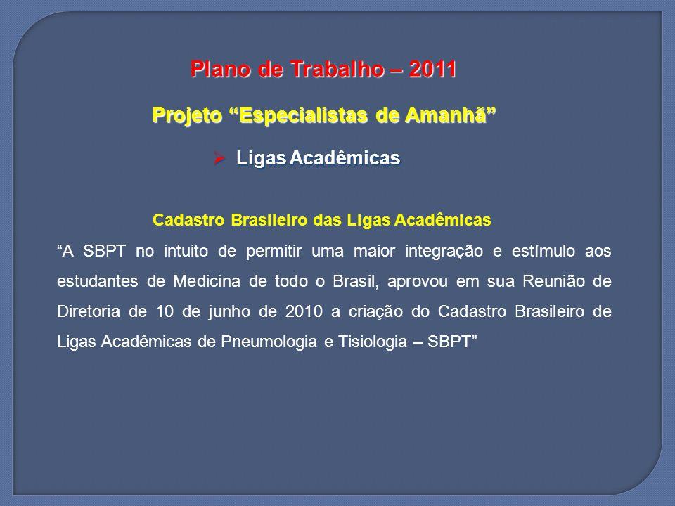 Plano de Trabalho – 2011 Projeto Especialistas de Amanhã Ligas Acadêmicas Ligas Acadêmicas Cadastro Brasileiro das Ligas Acadêmicas A SBPT no intuito