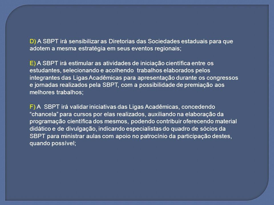 D) A SBPT irá sensibilizar as Diretorias das Sociedades estaduais para que adotem a mesma estratégia em seus eventos regionais; E) A SBPT irá estimula