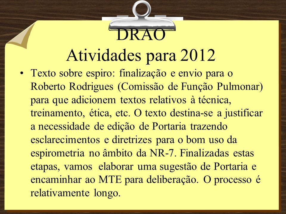DRAO Atividades para 2012 Dois cursos de LR.18 a 21/04 em Curitiba e 29/08 a 01/09 em BH.