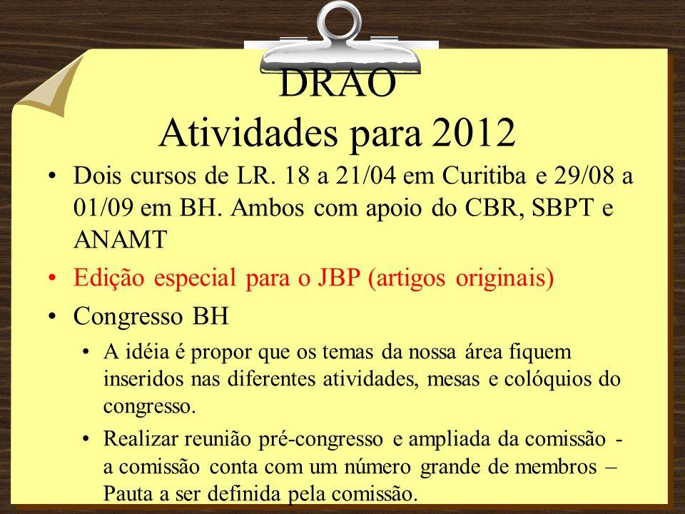 DRAO Atividades para 2012 Dois cursos de LR. 18 a 21/04 em Curitiba e 29/08 a 01/09 em BH.