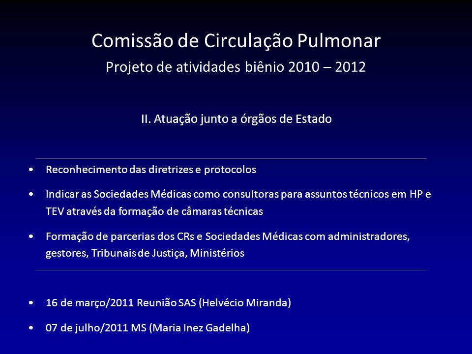 II. Atuação junto a órgãos de Estado Reconhecimento das diretrizes e protocolos Indicar as Sociedades Médicas como consultoras para assuntos técnicos