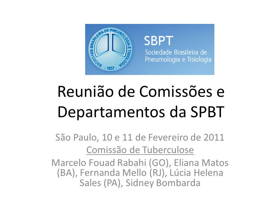 Reunião de Comissões e Departamentos da SPBT São Paulo, 10 e 11 de Fevereiro de 2011 Comissão de Tuberculose Marcelo Fouad Rabahi (GO), Eliana Matos (BA), Fernanda Mello (RJ), Lúcia Helena Sales (PA), Sidney Bombarda