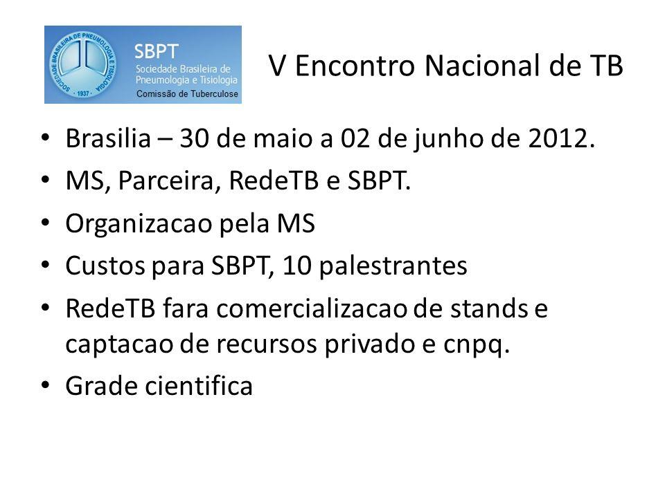 V Encontro Nacional de TB Brasilia – 30 de maio a 02 de junho de 2012.