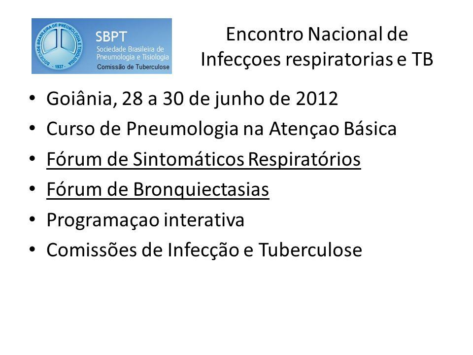 Encontro Nacional de Infecçoes respiratorias e TB Goiânia, 28 a 30 de junho de 2012 Curso de Pneumologia na Atençao Básica Fórum de Sintomáticos Respiratórios Fórum de Bronquiectasias Programaçao interativa Comissões de Infecção e Tuberculose
