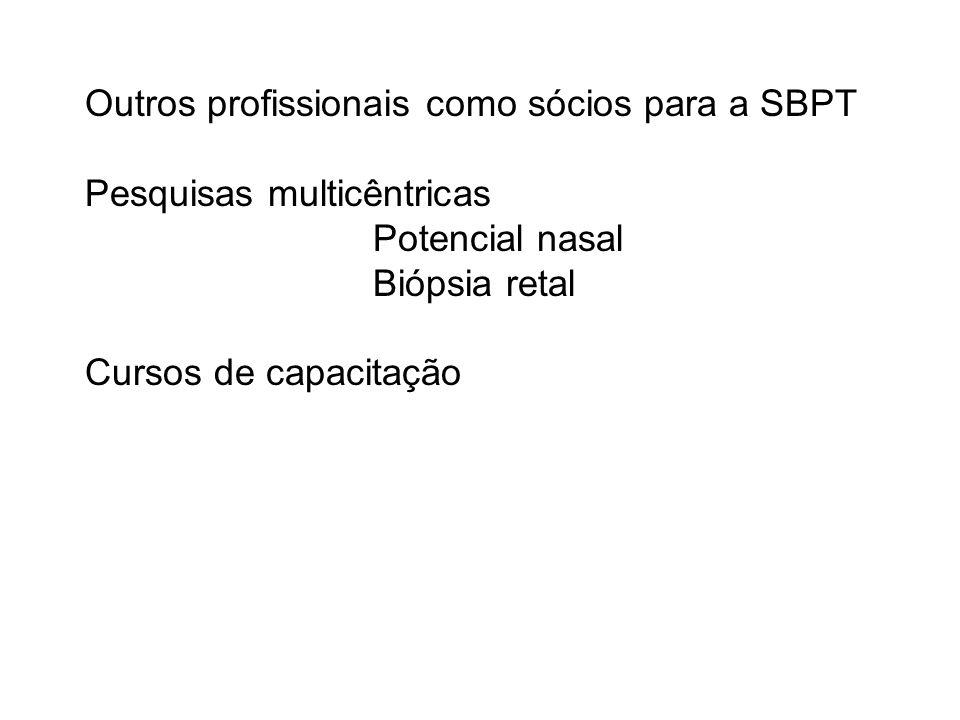 Outros profissionais como sócios para a SBPT Pesquisas multicêntricas Potencial nasal Biópsia retal Cursos de capacitação