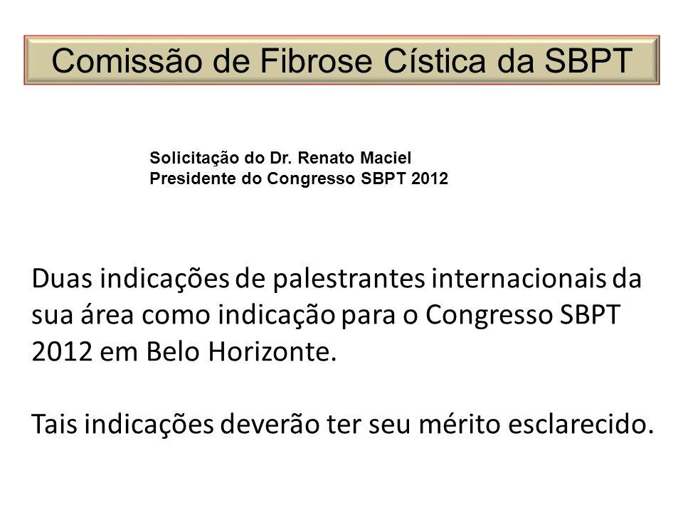 Comissão de Fibrose Cística da SBPT Solicitação do Dr. Renato Maciel Presidente do Congresso SBPT 2012 Duas indicações de palestrantes internacionais