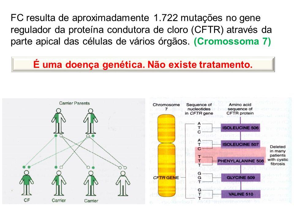 FC resulta de aproximadamente 1.722 mutações no gene regulador da proteína condutora de cloro (CFTR) através da parte apical das células de vários órg