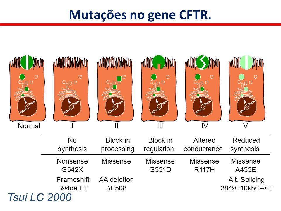 FC resulta de aproximadamente 1.722 mutações no gene regulador da proteína condutora de cloro (CFTR) através da parte apical das células de vários órgãos.