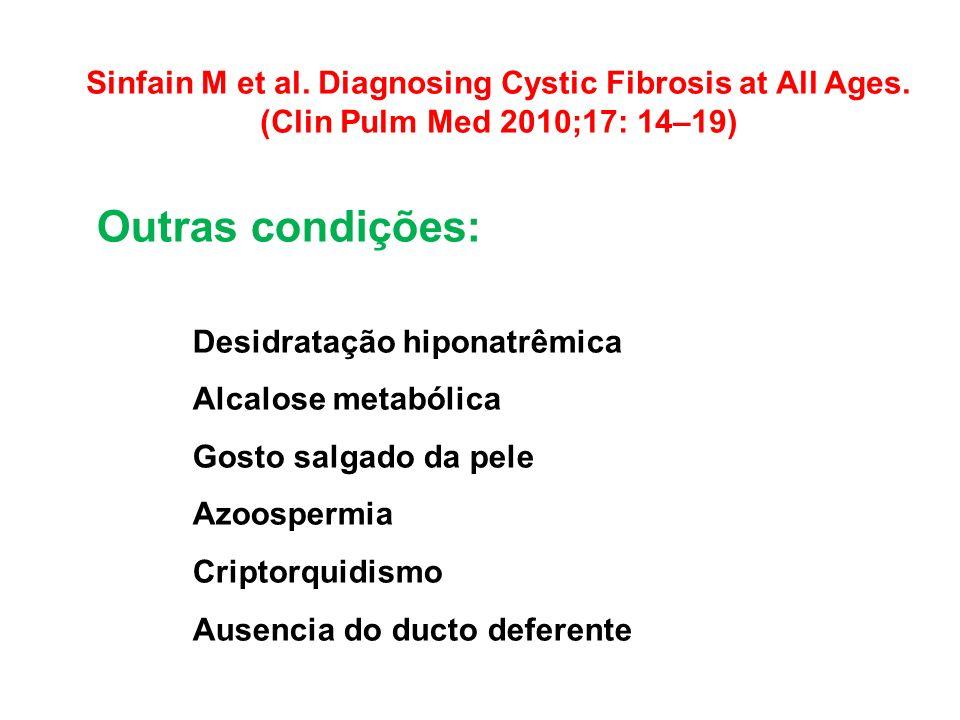Sinfain M et al. Diagnosing Cystic Fibrosis at All Ages. (Clin Pulm Med 2010;17: 14–19) Outras condições: Desidratação hiponatrêmica Alcalose metabóli