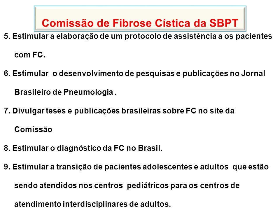 Comissão de Fibrose Cística da SBPT 5. Estimular a elaboração de um protocolo de assistência a os pacientes com FC. 6. Estimular o desenvolvimento de