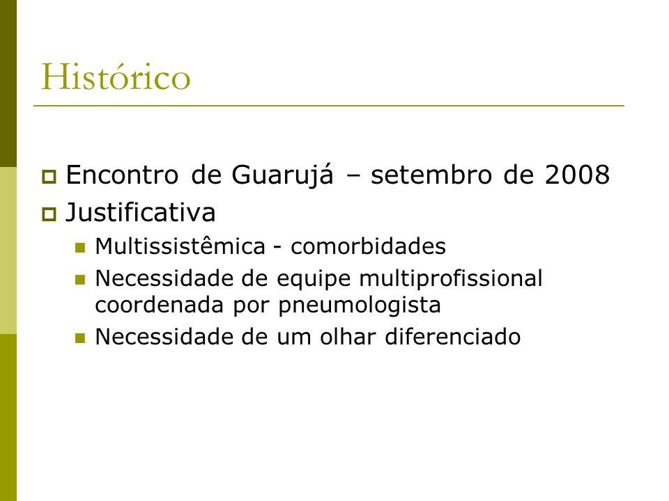 Histórico Encontro de Guarujá – setembro de 2008 Justificativa Multissistêmica - comorbidades Necessidade de equipe multiprofissional coordenada por p