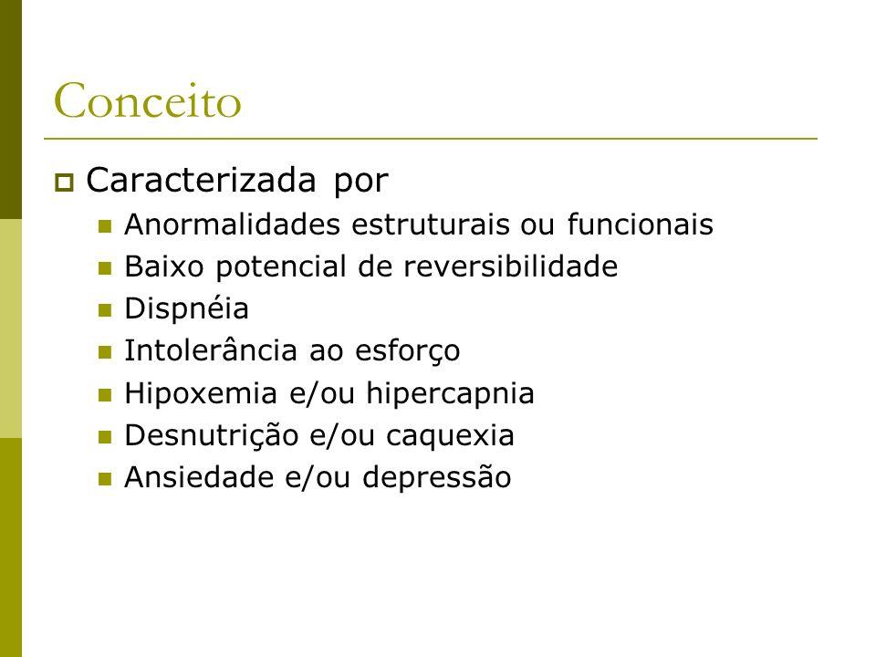 Conceito Caracterizada por Anormalidades estruturais ou funcionais Baixo potencial de reversibilidade Dispnéia Intolerância ao esforço Hipoxemia e/ou