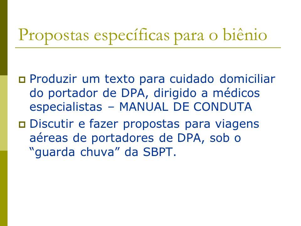 Propostas específicas para o biênio Produzir um texto para cuidado domiciliar do portador de DPA, dirigido a médicos especialistas – MANUAL DE CONDUTA
