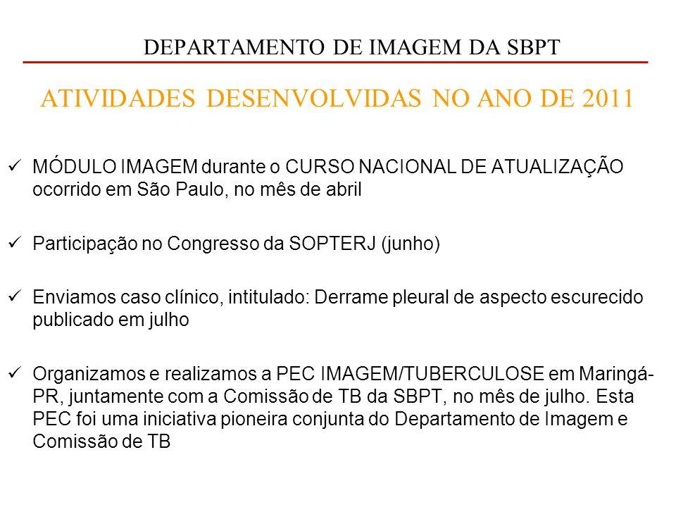 DEPARTAMENTO DE IMAGEM DA SBPT ATIVIDADES DESENVOLVIDAS NO ANO DE 2011 MÓDULO IMAGEM durante o CURSO NACIONAL DE ATUALIZAÇÃO ocorrido em São Paulo, no