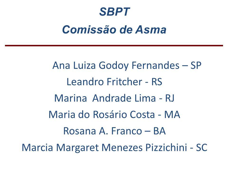 SBPT Comissão de Asma Ana Luiza Godoy Fernandes – SP Leandro Fritcher - RS Marina Andrade Lima - RJ Maria do Rosário Costa - MA Rosana A. Franco – BA