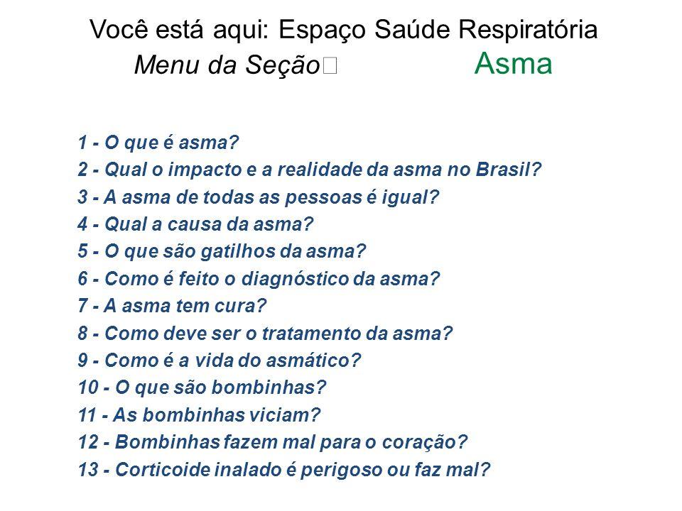 Você está aqui: Espaço Saúde Respiratória Menu da Seção Asma 1 - O que é asma? 2 - Qual o impacto e a realidade da asma no Brasil? 3 - A asma de todas