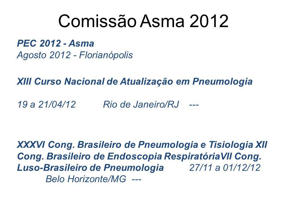 Comissão Asma 2012 XIII Curso Nacional de Atualização em Pneumologia 19 a 21/04/12Rio de Janeiro/RJ--- XXXVI Cong. Brasileiro de Pneumologia e Tisiolo