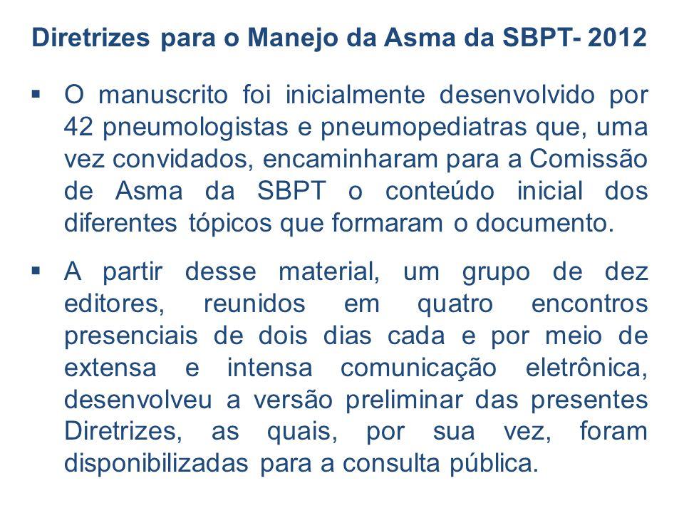 O manuscrito foi inicialmente desenvolvido por 42 pneumologistas e pneumopediatras que, uma vez convidados, encaminharam para a Comissão de Asma da SB