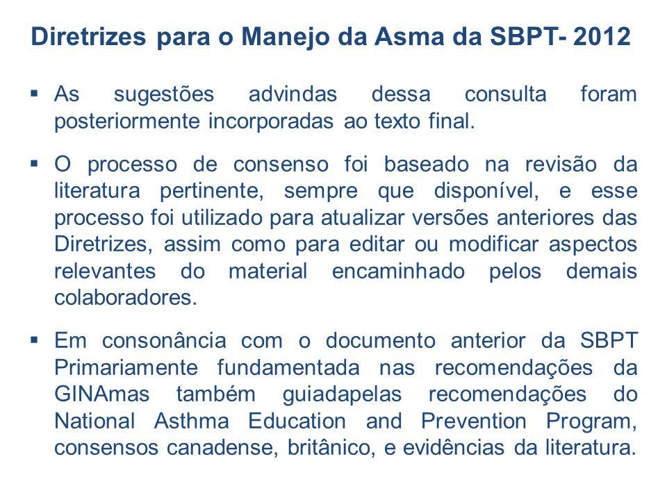 As sugestões advindas dessa consulta foram posteriormente incorporadas ao texto final. O processo de consenso foi baseado na revisão da literatura per