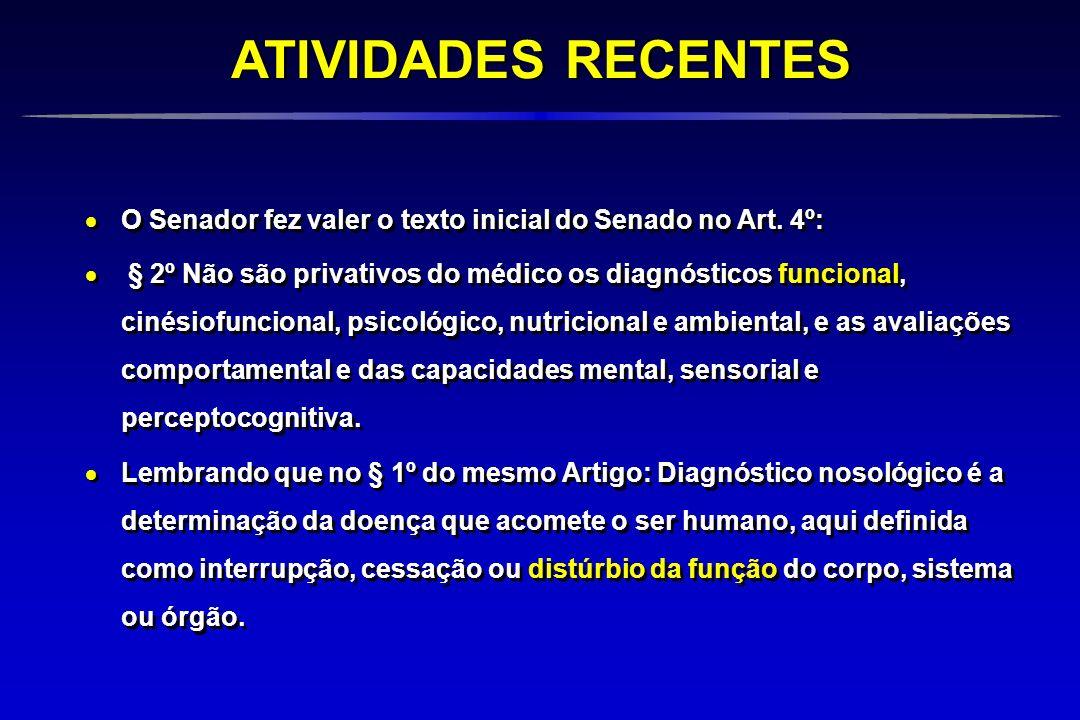 O Senador fez valer o texto inicial do Senado no Art. 4º: § 2º Não são privativos do médico os diagnósticos funcional, cinésiofuncional, psicológico,