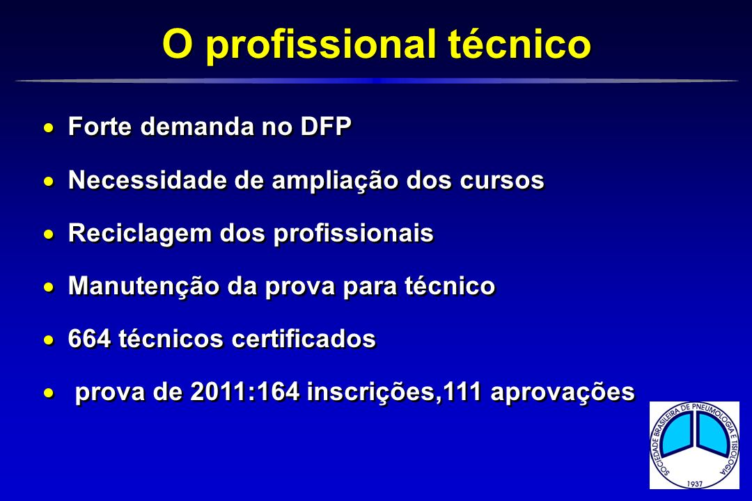 Forte demanda no DFP Necessidade de ampliação dos cursos Reciclagem dos profissionais Manutenção da prova para técnico 664 técnicos certificados prova