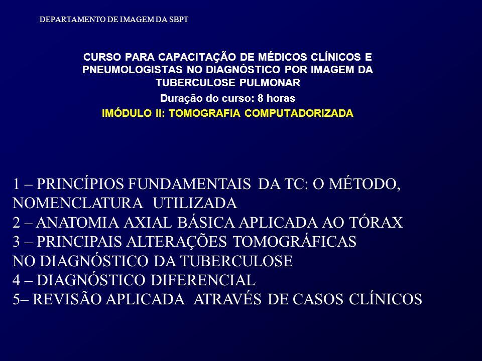 DEPARTAMENTO DE IMAGEM DA SBPT CURSO PARA CAPACITAÇÃO DE MÉDICOS CLÍNICOS E PNEUMOLOGISTAS NO DIAGNÓSTICO POR IMAGEM DA TUBERCULOSE PULMONAR Duração d