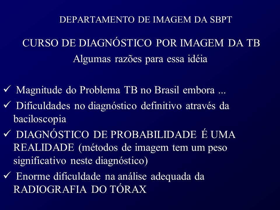 DEPARTAMENTO DE IMAGEM DA SBPT CURSO DE DIAGNÓSTICO POR IMAGEM DA TB Algumas razões para essa idéia Magnitude do Problema TB no Brasil embora... Dific