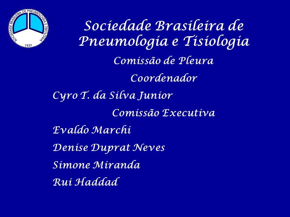 Sociedade Brasileira de Pneumologia e Tisiologia Comissão de Pleura Coordenador Cyro T. da Silva Junior Comissão Executiva Evaldo Marchi Denise Duprat