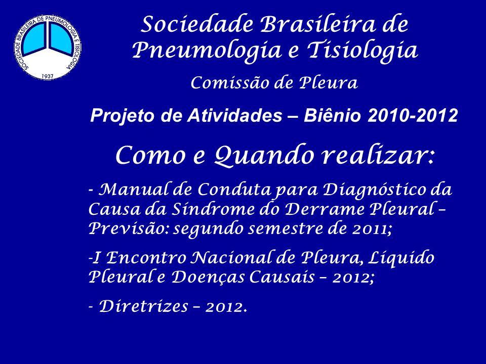 Sociedade Brasileira de Pneumologia e Tisiologia Comissão de Pleura Projeto de Atividades – Biênio 2010-2012 Como e Quando realizar: - Manual de Condu