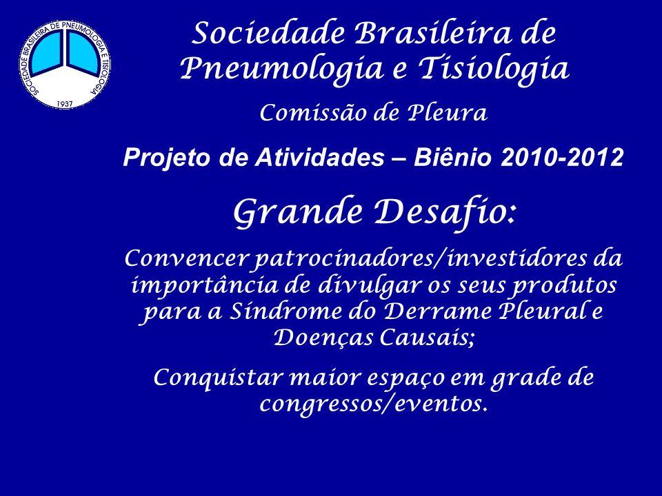 Sociedade Brasileira de Pneumologia e Tisiologia Comissão de Pleura Projeto de Atividades – Biênio 2010-2012 Grande Desafio: Convencer patrocinadores/