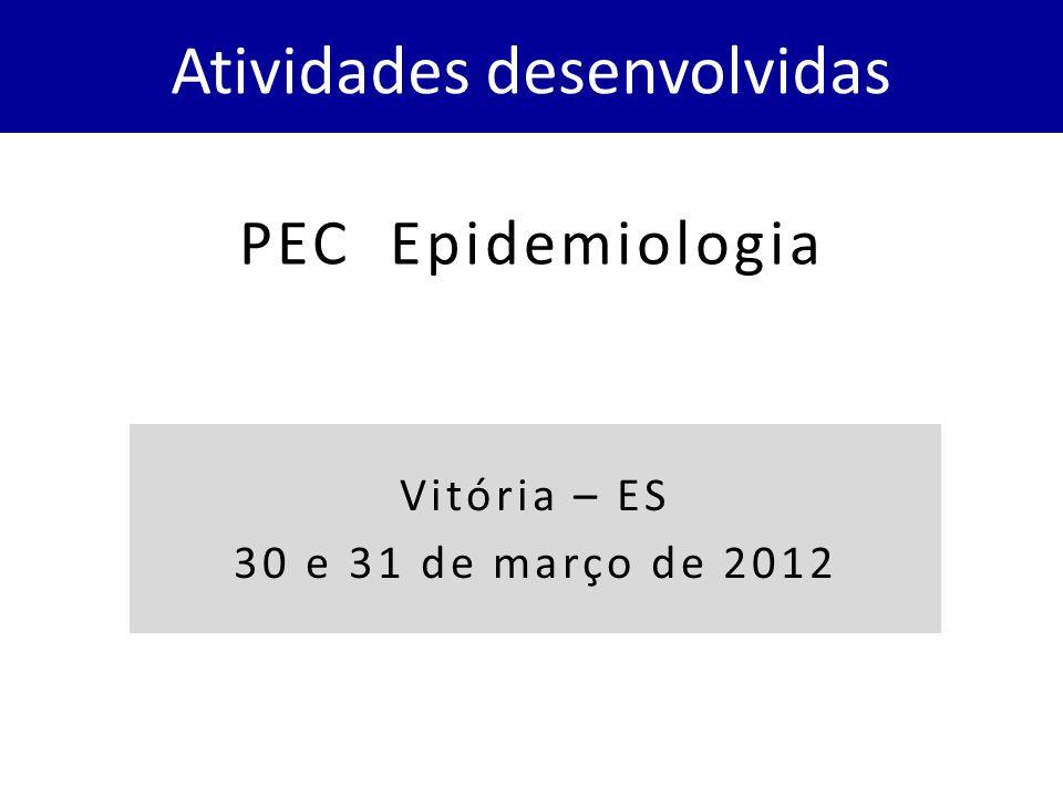PEC Epidemiologia Atividades desenvolvidas Vitória – ES 30 e 31 de março de 2012