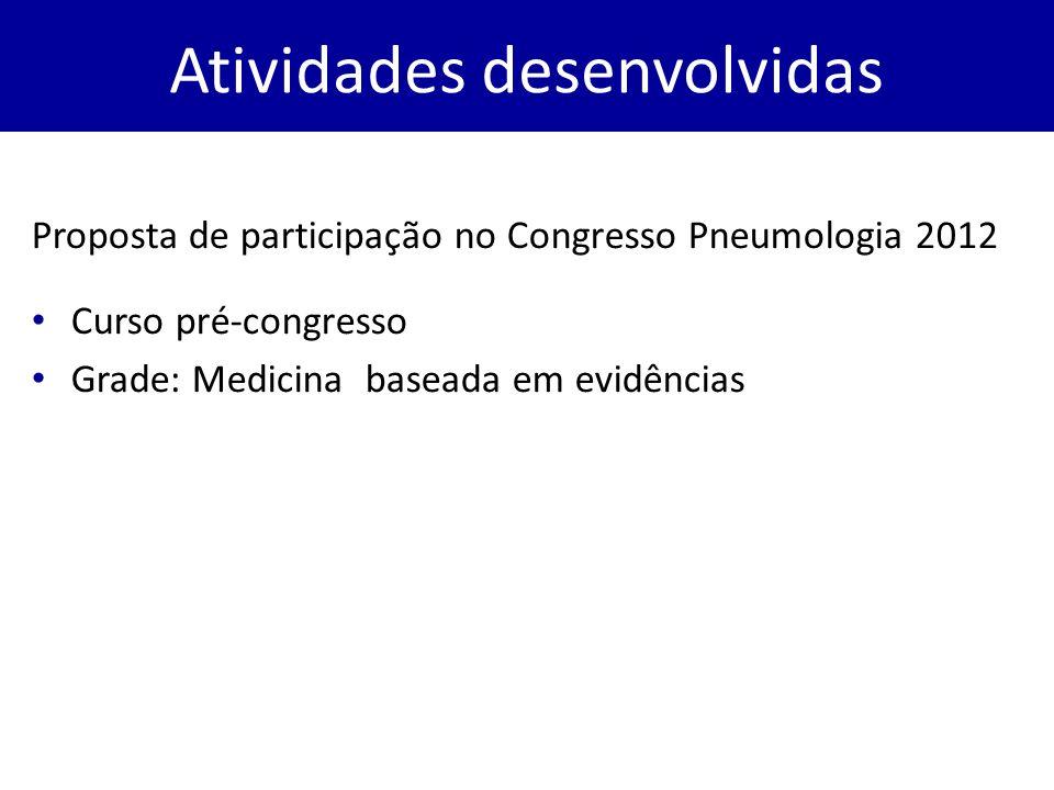 Proposta de participação no Congresso Pneumologia 2012 Curso pré-congresso Grade: Medicina baseada em evidências Atividades desenvolvidas