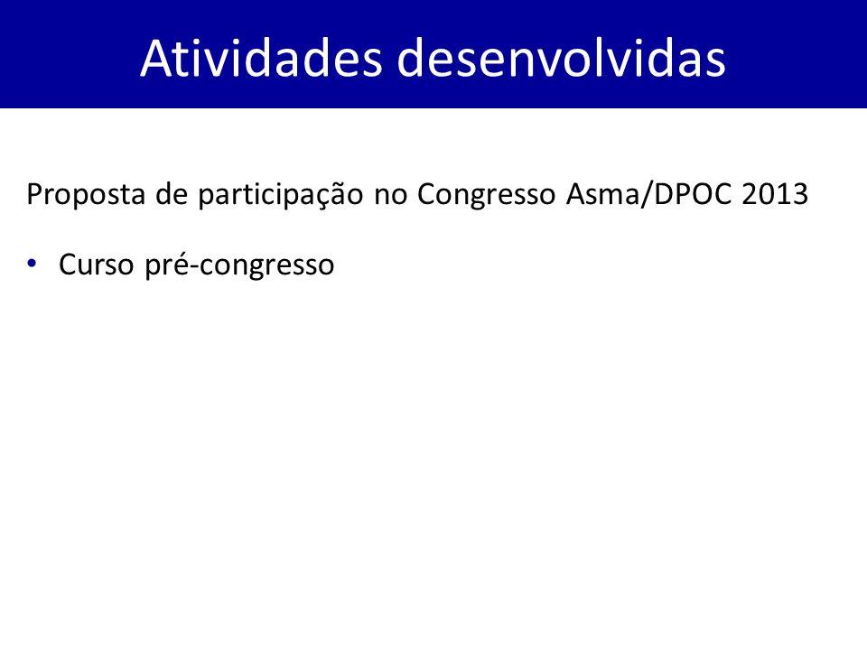 Proposta de participação no Congresso Asma/DPOC 2013 Curso pré-congresso Atividades desenvolvidas