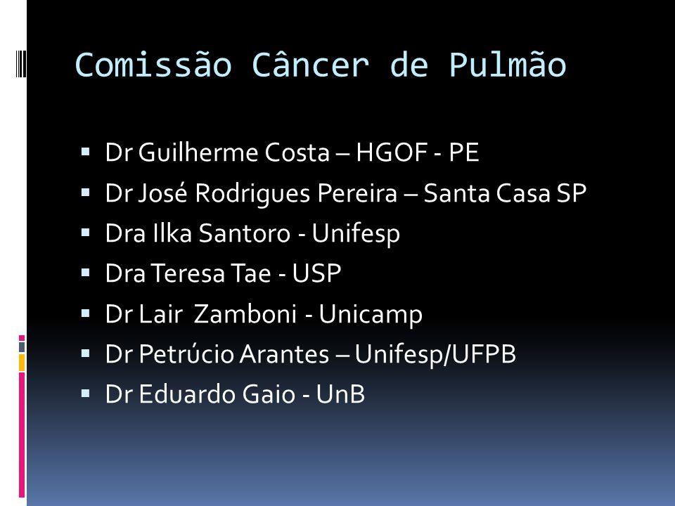 Comissão Câncer de Pulmão Dr Guilherme Costa – HGOF - PE Dr José Rodrigues Pereira – Santa Casa SP Dra Ilka Santoro - Unifesp Dra Teresa Tae - USP Dr