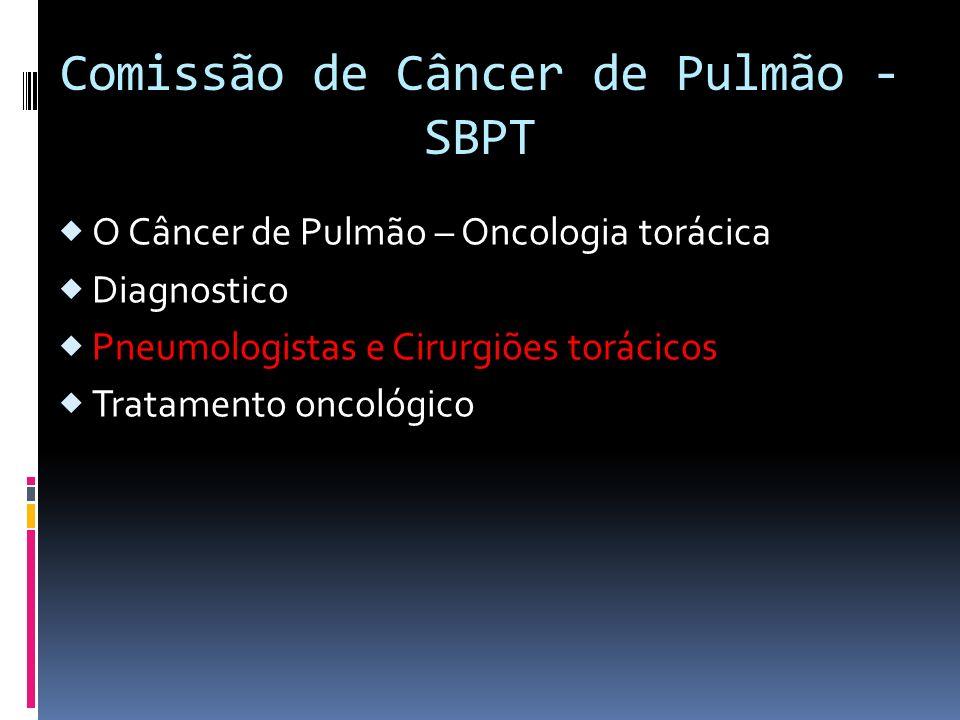 Comissão de Câncer de Pulmão - SBPT O Câncer de Pulmão – Oncologia torácica Diagnostico Pneumologistas e Cirurgiões torácicos Tratamento oncológico