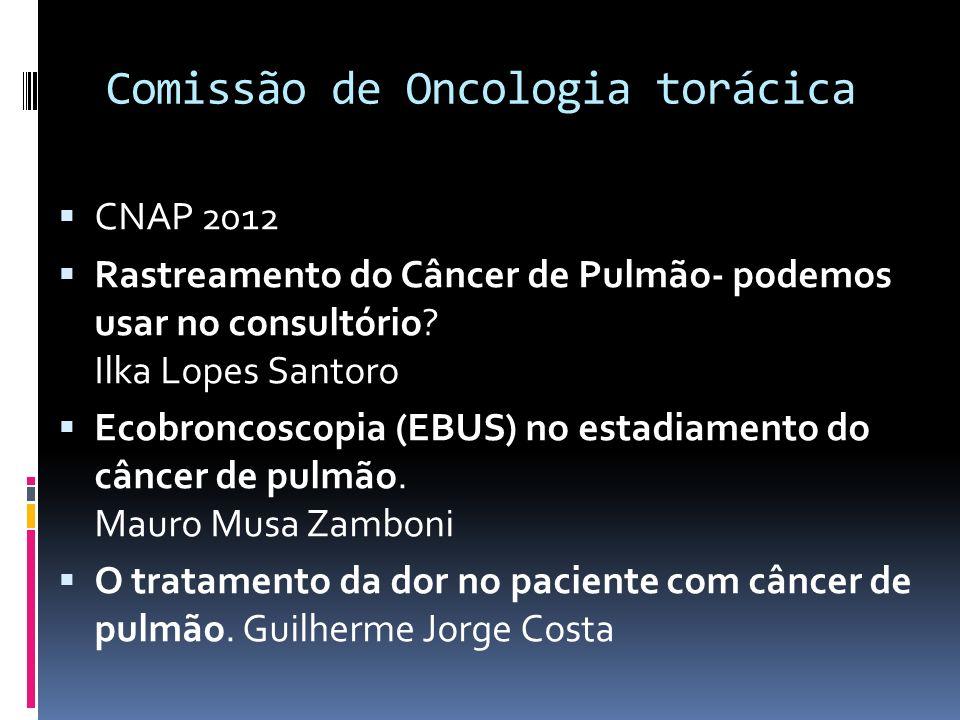 Comissão de Oncologia torácica CNAP 2012 Rastreamento do Câncer de Pulmão- podemos usar no consultório? Ilka Lopes Santoro Ecobroncoscopia (EBUS) no e