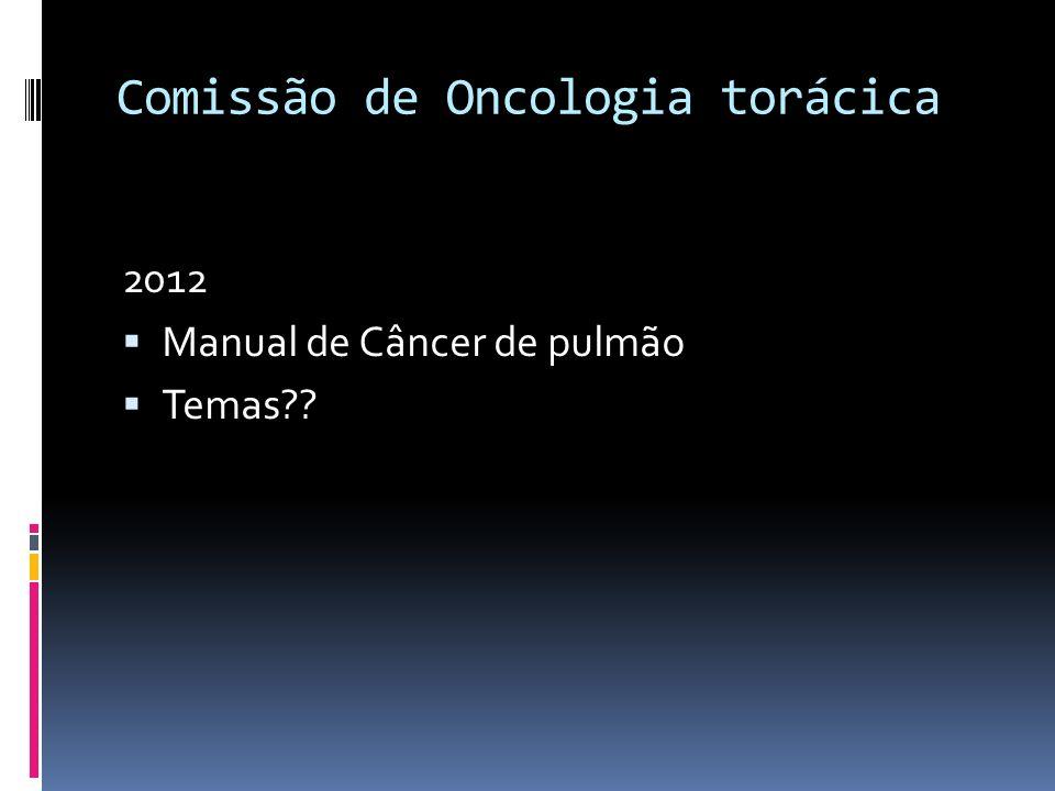 Comissão de Oncologia torácica 2012 Manual de Câncer de pulmão Temas??