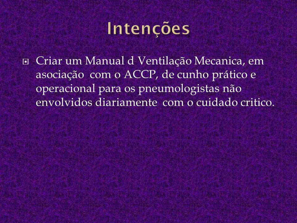 Criar um Manual d Ventilação Mecanica, em asociação com o ACCP, de cunho prático e operacional para os pneumologistas não envolvidos diariamente com o