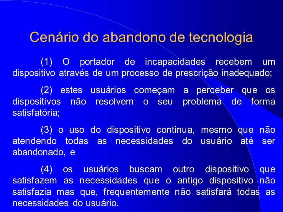Cenário do abandono de tecnologia (1) O portador de incapacidades recebem um dispositivo através de um processo de prescrição inadequado; (2) estes us