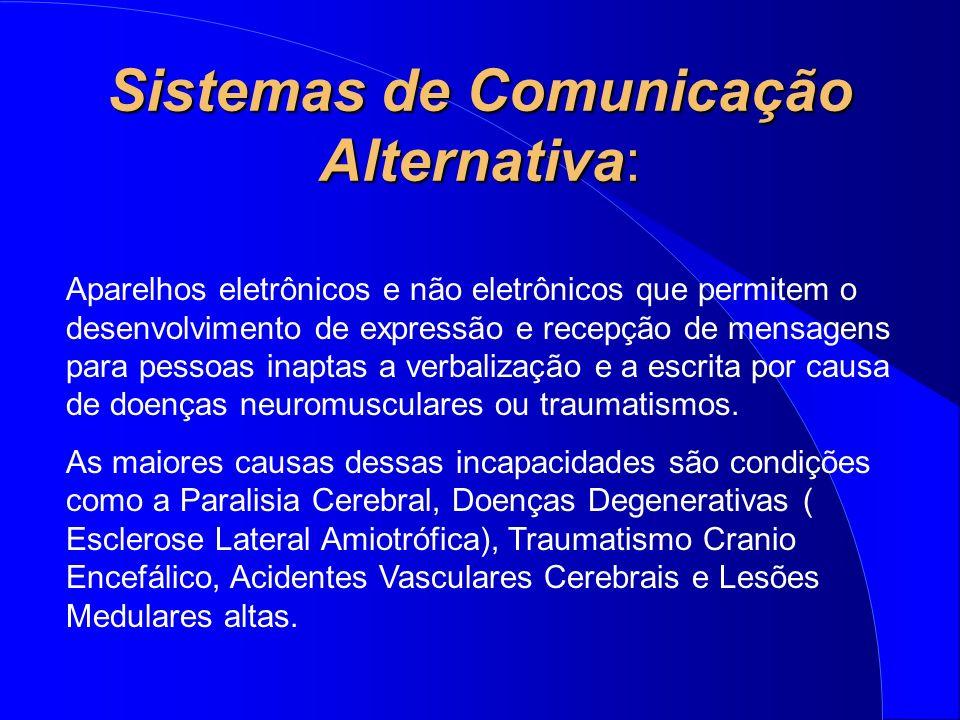 Sistemas de Comunicação Alternativa: Aparelhos eletrônicos e não eletrônicos que permitem o desenvolvimento de expressão e recepção de mensagens para
