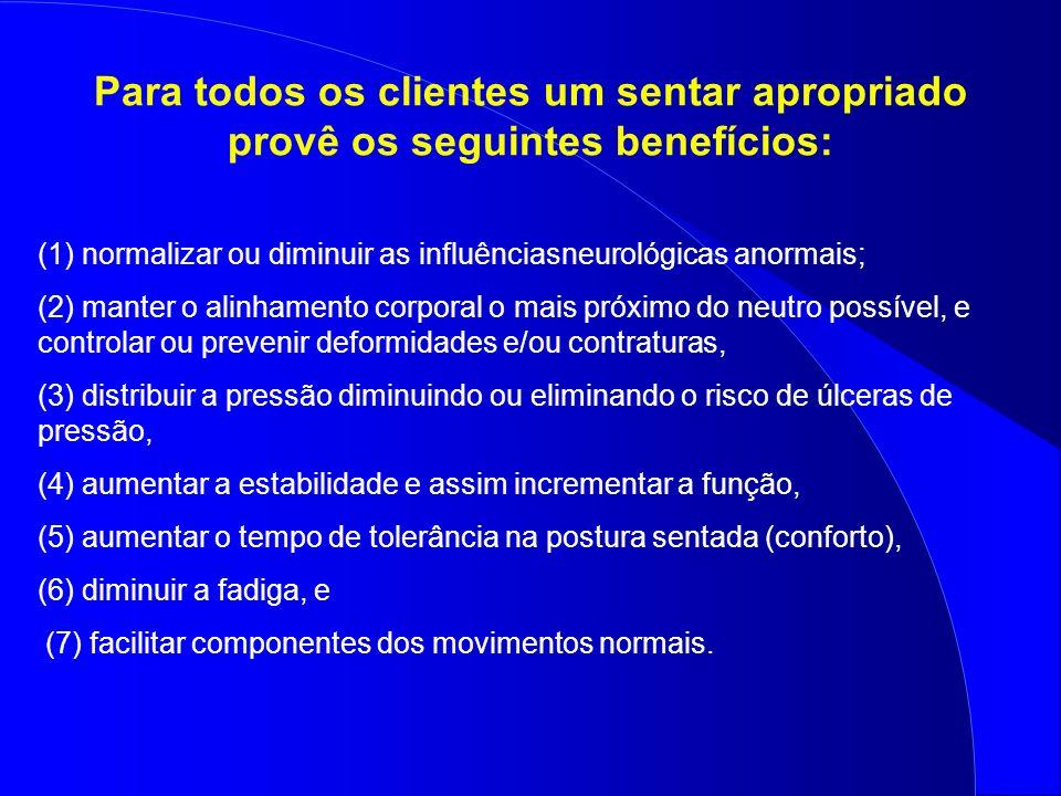 Para todos os clientes um sentar apropriado provê os seguintes benefícios: (1) normalizar ou diminuir as influênciasneurológicas anormais; (2) manter