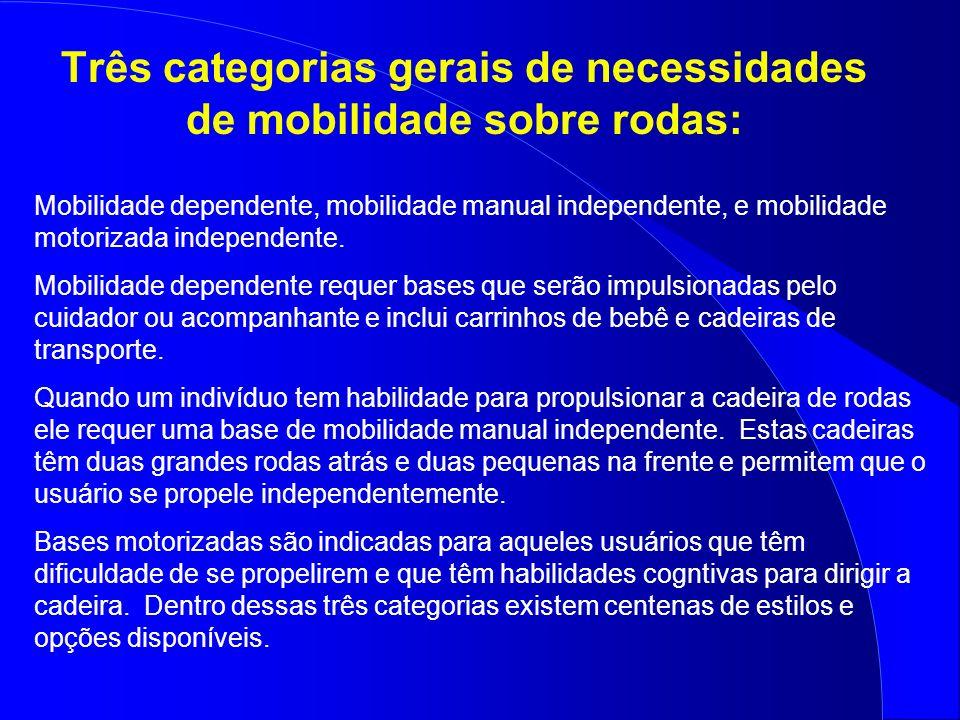 Três categorias gerais de necessidades de mobilidade sobre rodas: Mobilidade dependente, mobilidade manual independente, e mobilidade motorizada indep
