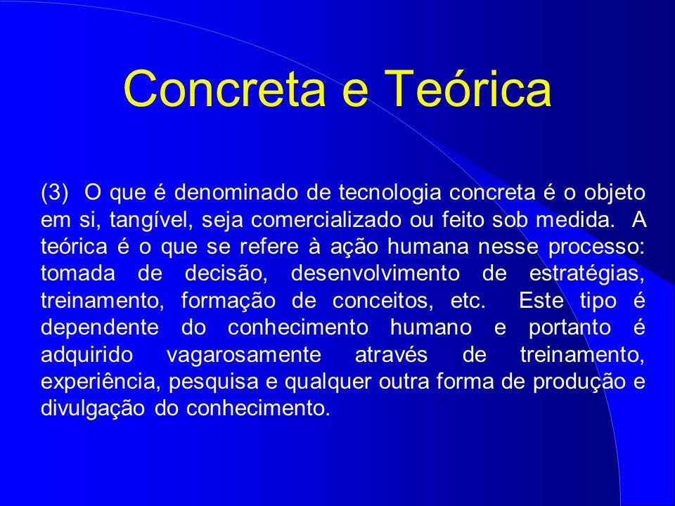 Concreta e Teórica (3) O que é denominado de tecnologia concreta é o objeto em si, tangível, seja comercializado ou feito sob medida. A teórica é o qu