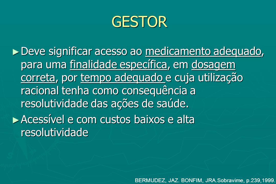 GESTOR Deve significar acesso ao medicamento adequado, para uma finalidade específica, em dosagem correta, por tempo adequado e cuja utilização racion