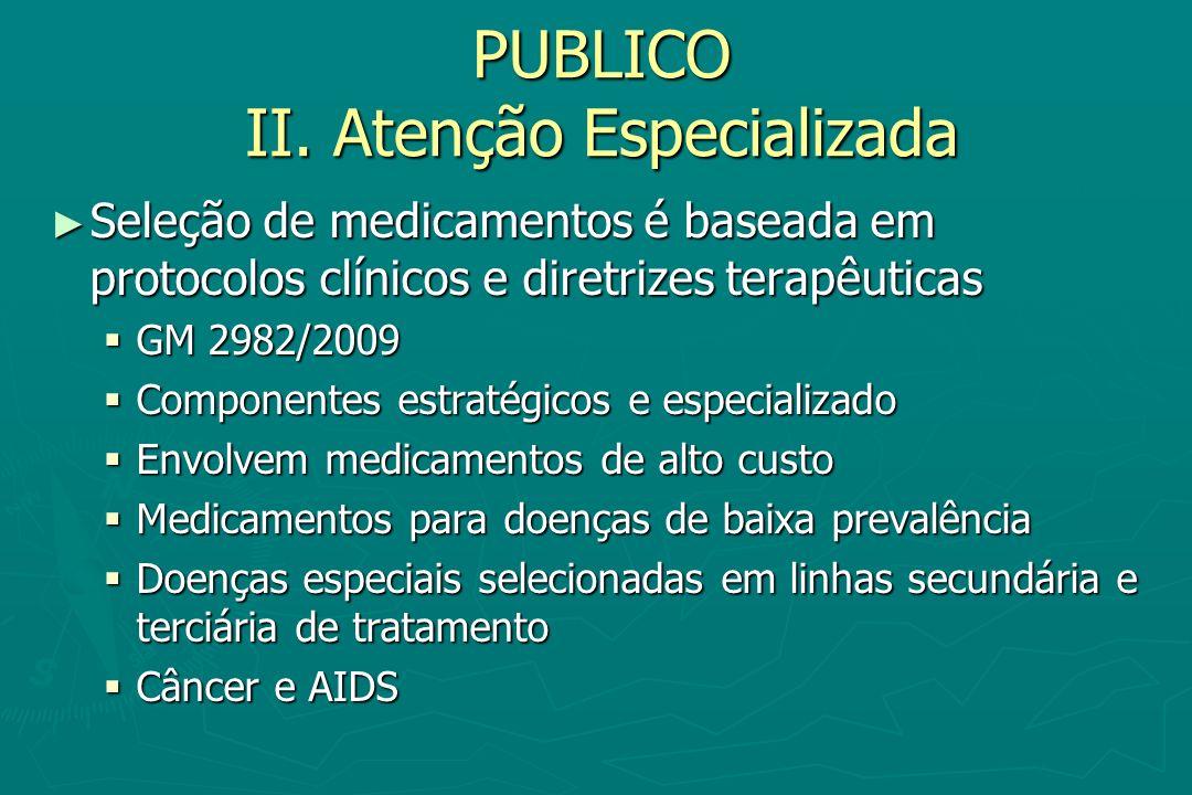 PUBLICO II. Atenção Especializada Seleção de medicamentos é baseada em protocolos clínicos e diretrizes terapêuticas Seleção de medicamentos é baseada