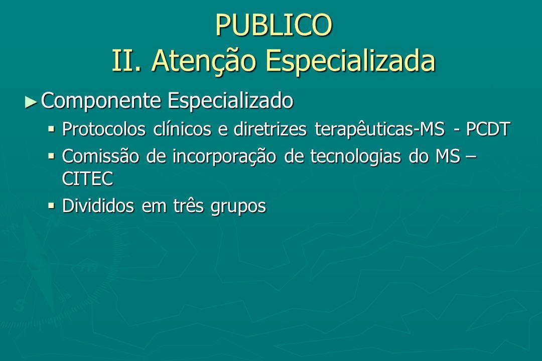 PUBLICO II. Atenção Especializada Componente Especializado Componente Especializado Protocolos clínicos e diretrizes terapêuticas-MS - PCDT Protocolos