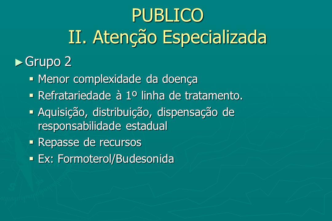 PUBLICO II. Atenção Especializada Grupo 2 Grupo 2 Menor complexidade da doença Menor complexidade da doença Refratariedade à 1º linha de tratamento. R