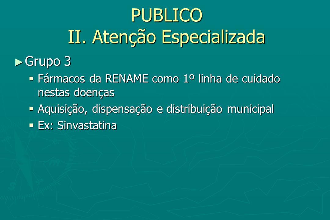 PUBLICO II. Atenção Especializada Grupo 3 Grupo 3 Fármacos da RENAME como 1º linha de cuidado nestas doenças Fármacos da RENAME como 1º linha de cuida