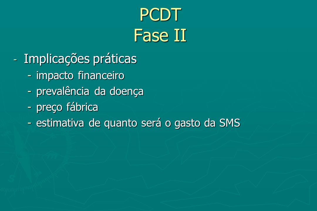 PCDT Fase II - Implicações práticas -impacto financeiro -prevalência da doença -preço fábrica -estimativa de quanto será o gasto da SMS