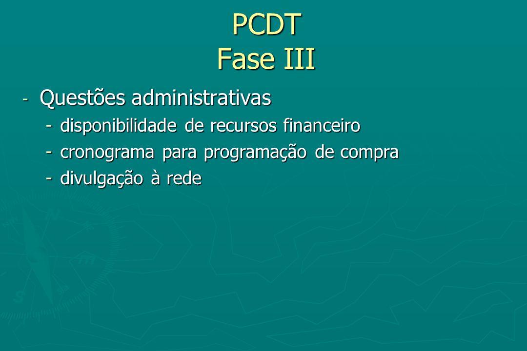 PCDT Fase III - Questões administrativas -disponibilidade de recursos financeiro -cronograma para programação de compra -divulgação à rede